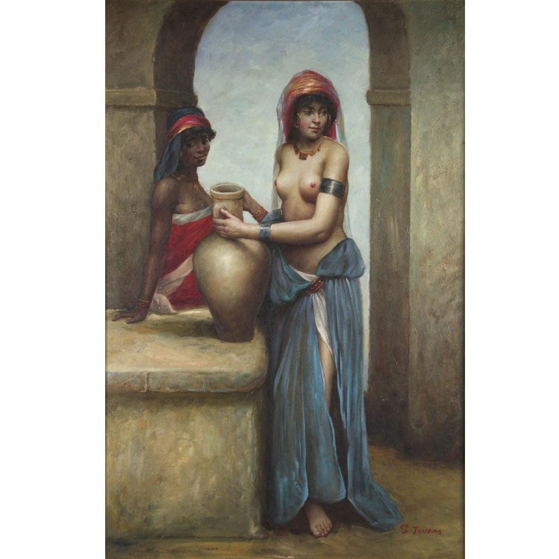 Unidentified Artist - Two Girls with a Water Jug, Oil