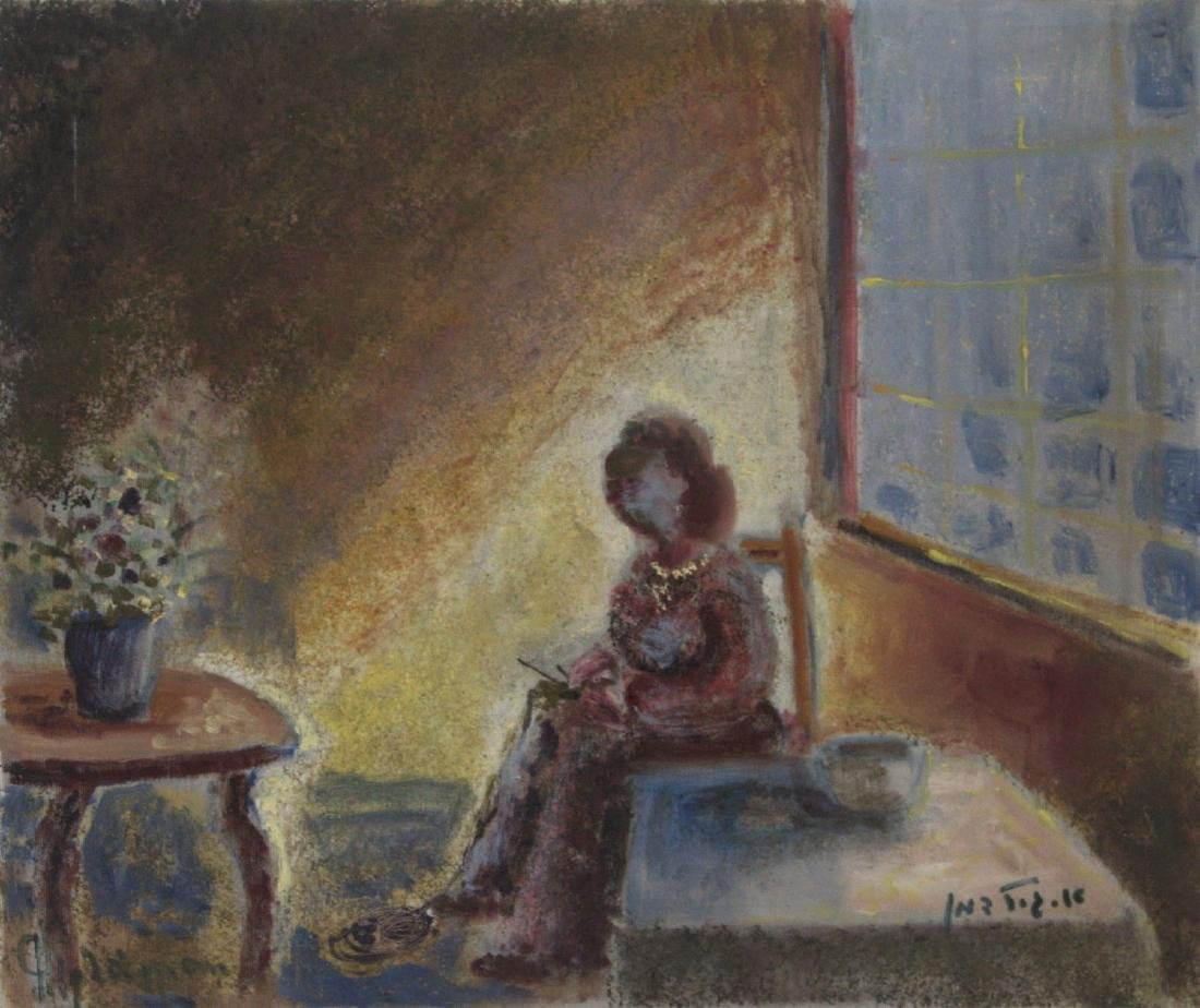 Albert Goldman (1922-2011) - Knitting Woman, Oil on