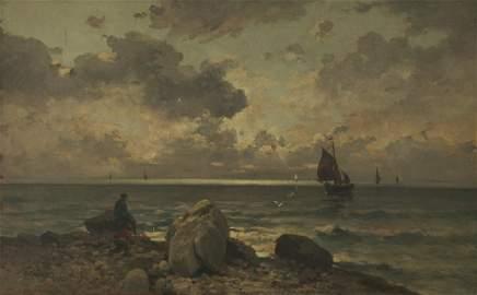 Adolf Kaufmann (Austria, 1848-1916) - Seascape, Oil on