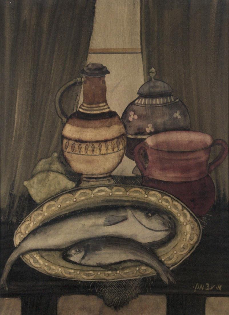 Avraham Azmon (1918-2008) - Fish and Still Life,
