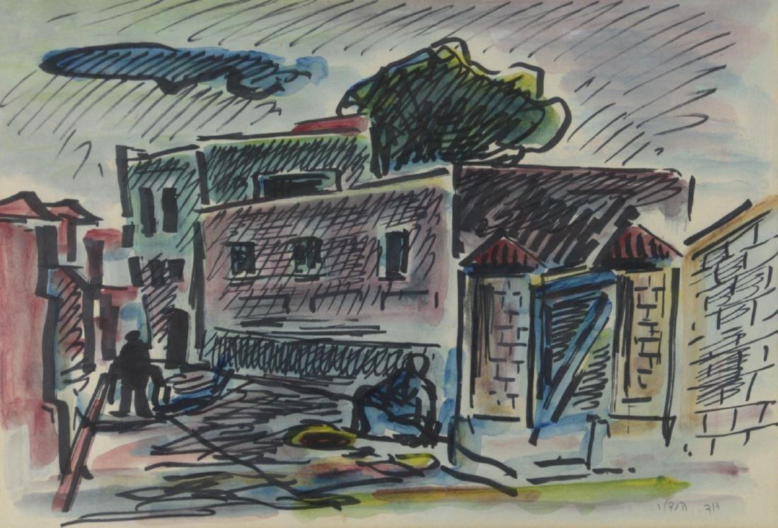 David Hendler (1904-1984) - Figures in the Steet,