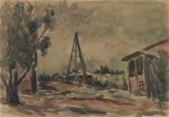 Zvi Shor 18981979  Rural Landscape Watercolor on