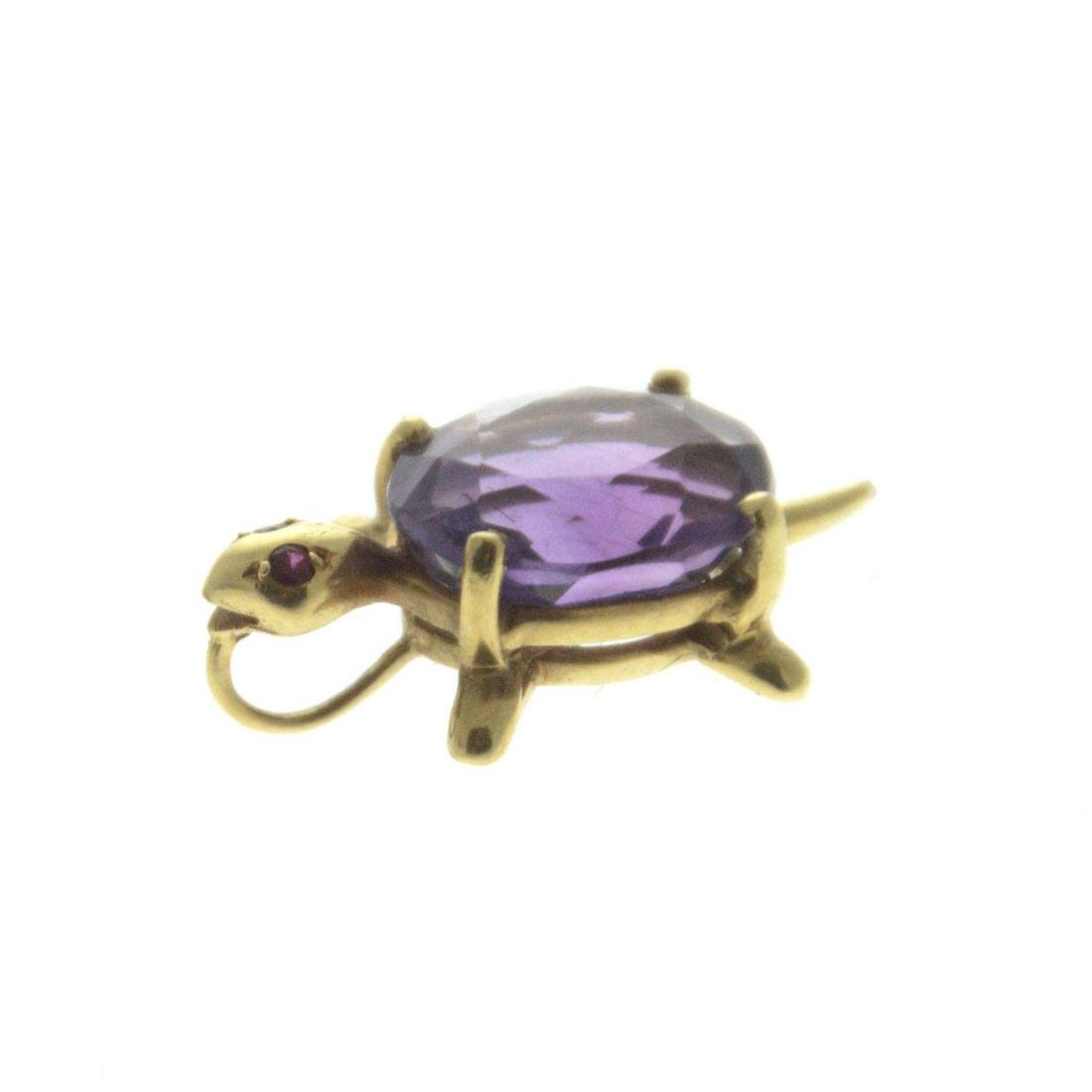 18k Yellow Gold Turtle Amethyst Ruby Pendant.