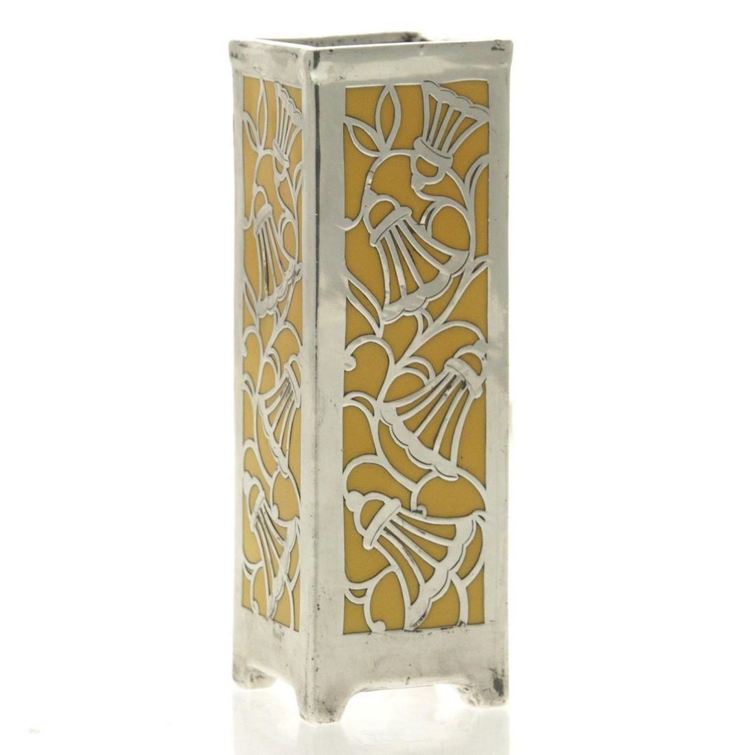 Porcelijnen vase Friedrich Wilhelm Spahr silver overlay Art Deco 20 /'s Germany