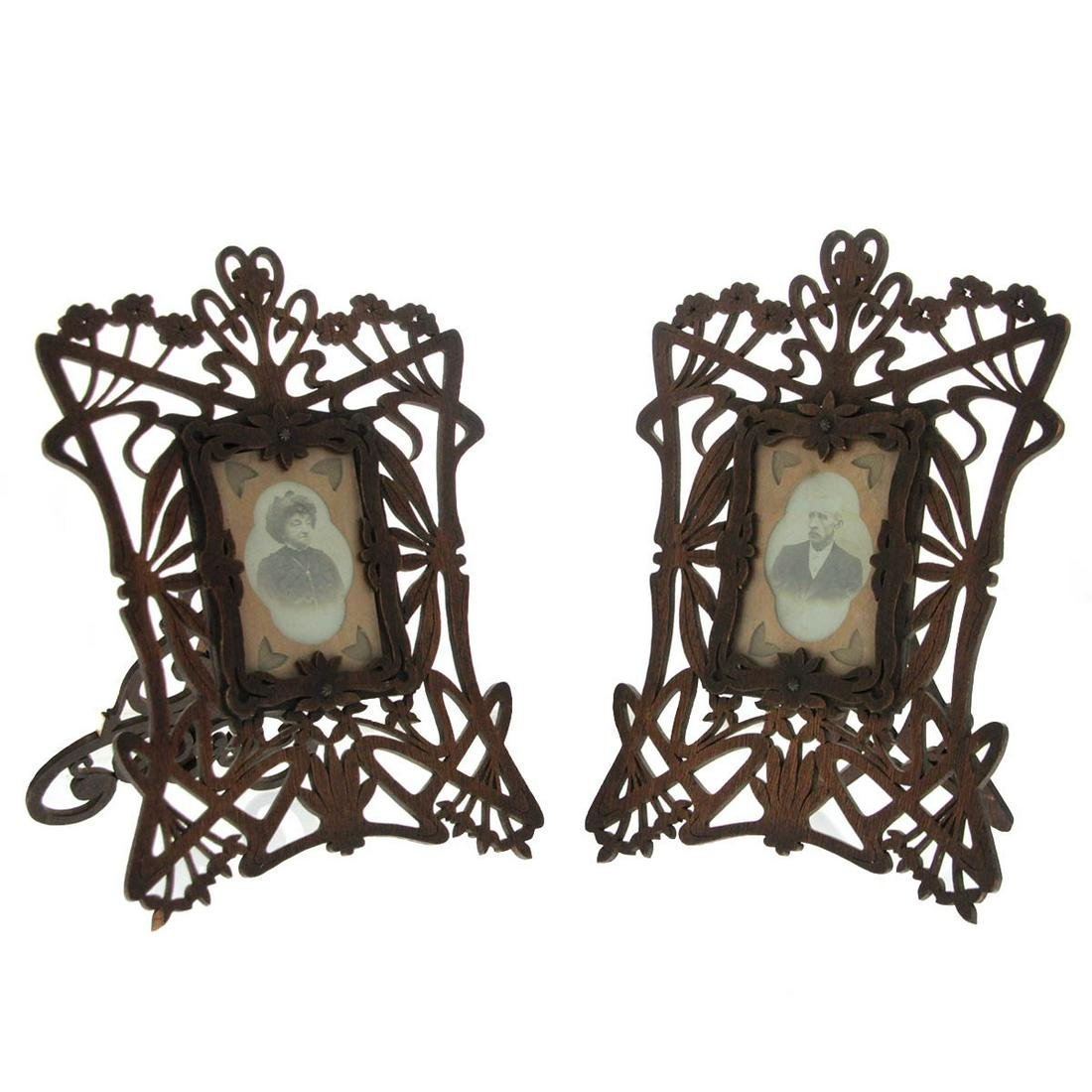 Pair of Art Nouveau Carved Wood Picture Photo Frames,