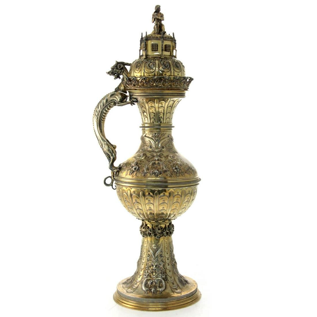 Rare Huge Silver Gilt Historic Ewer, Hanau, Germany,