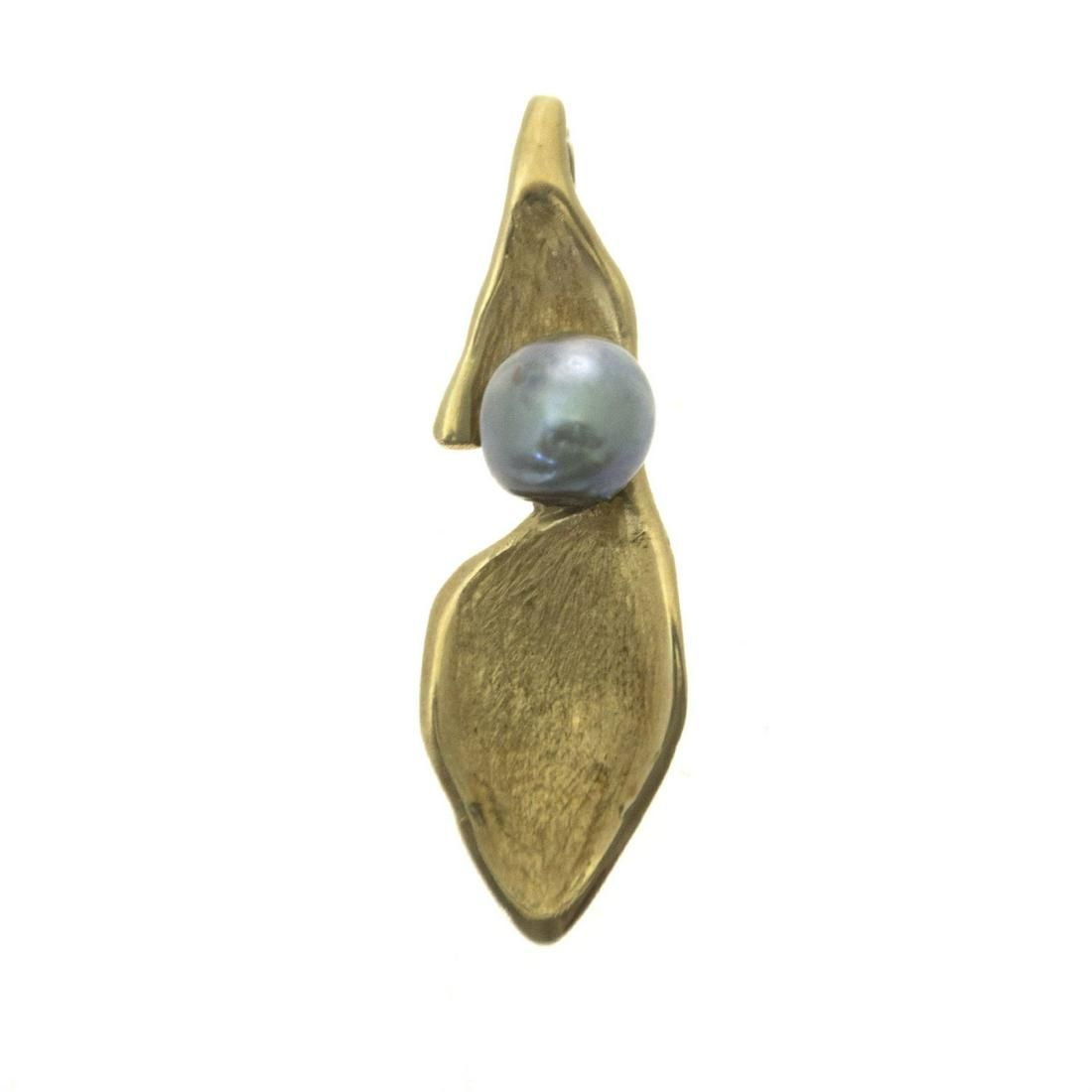 14k Yellow Gold Natural Black Pearl Pendant.