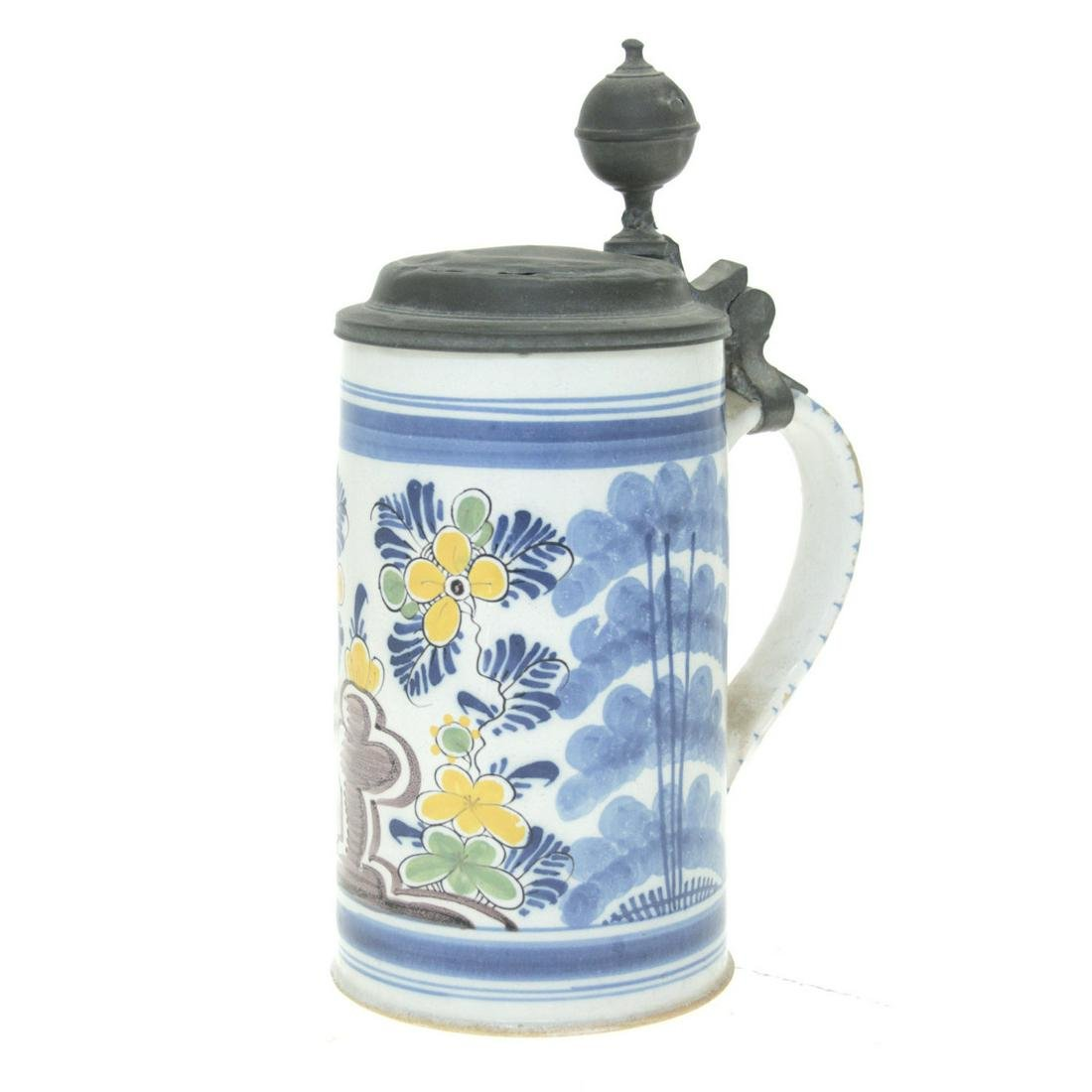 Antique German Faience Ceramic and Pewter Stein.