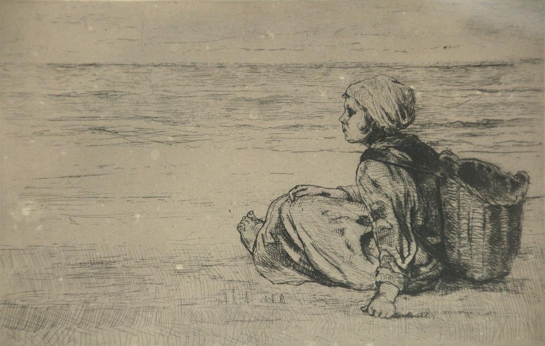 Jozef Israels (Dutch, 1824-1911) - Girl on the Beach,