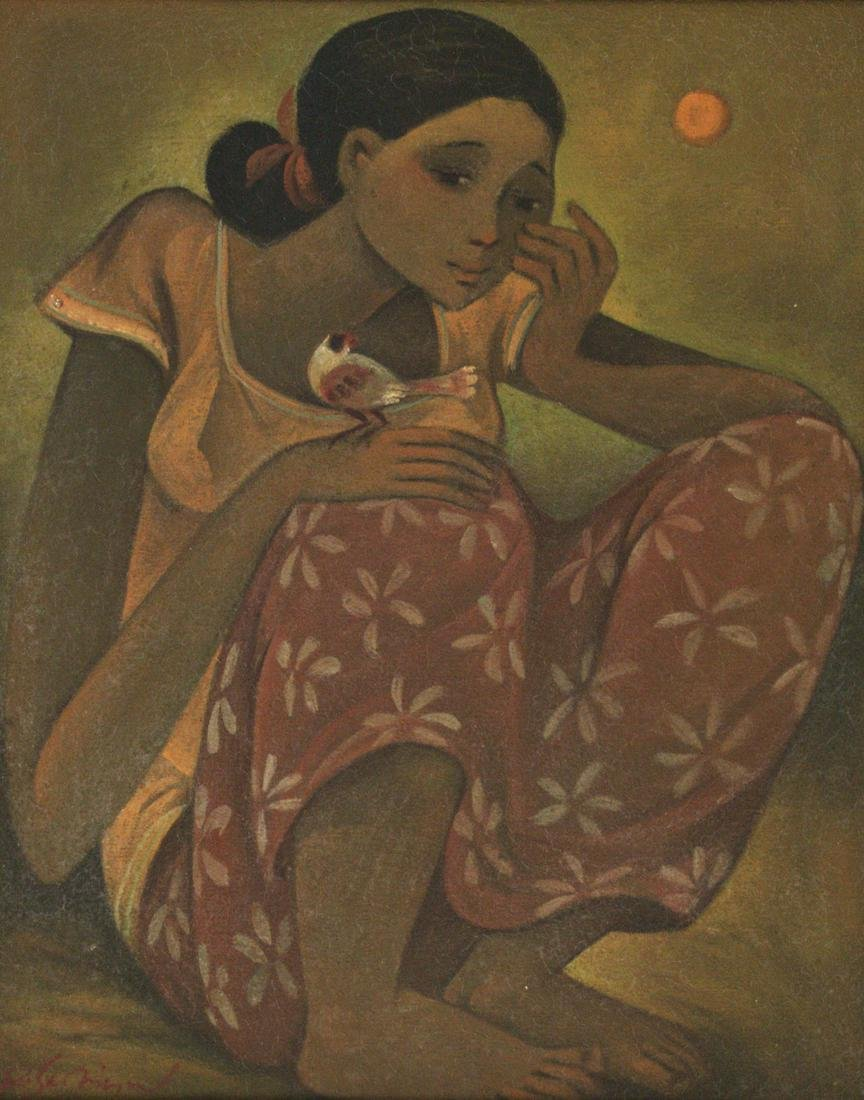 Roger San Miguel (Filipino, b.1940) - Girl with Bird