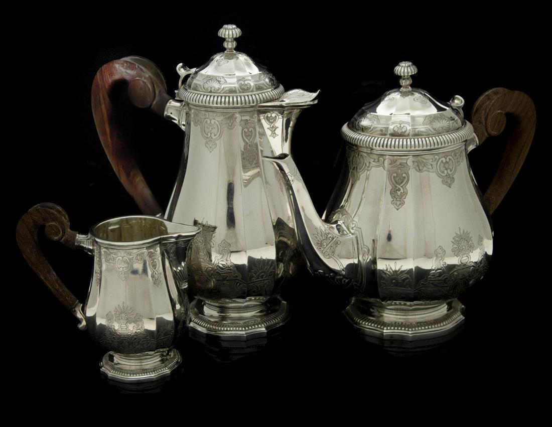 Puiforcat Sterling Silver 3pcs Tea and Coffee Set,