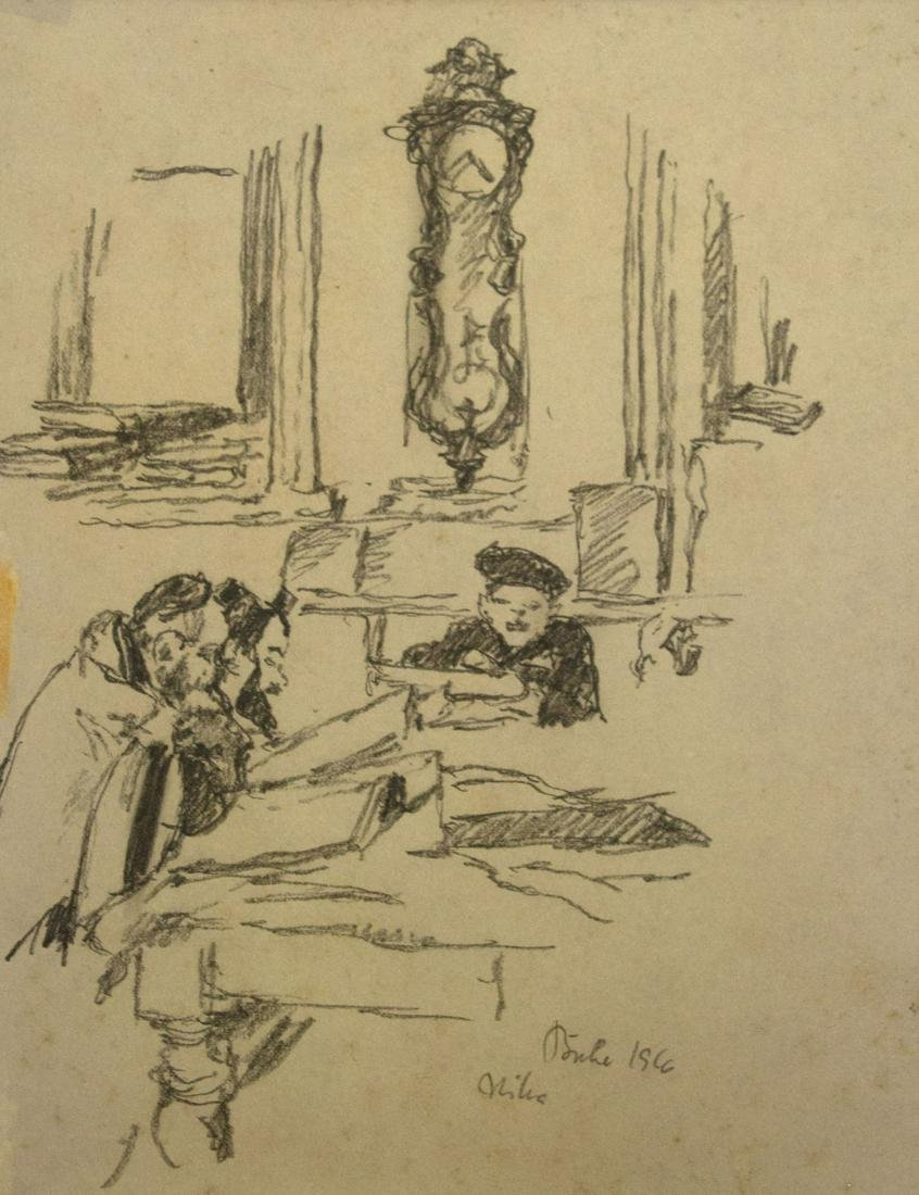 Walter Buhe (German, 1882-1958) - Torah Studies, Pencil