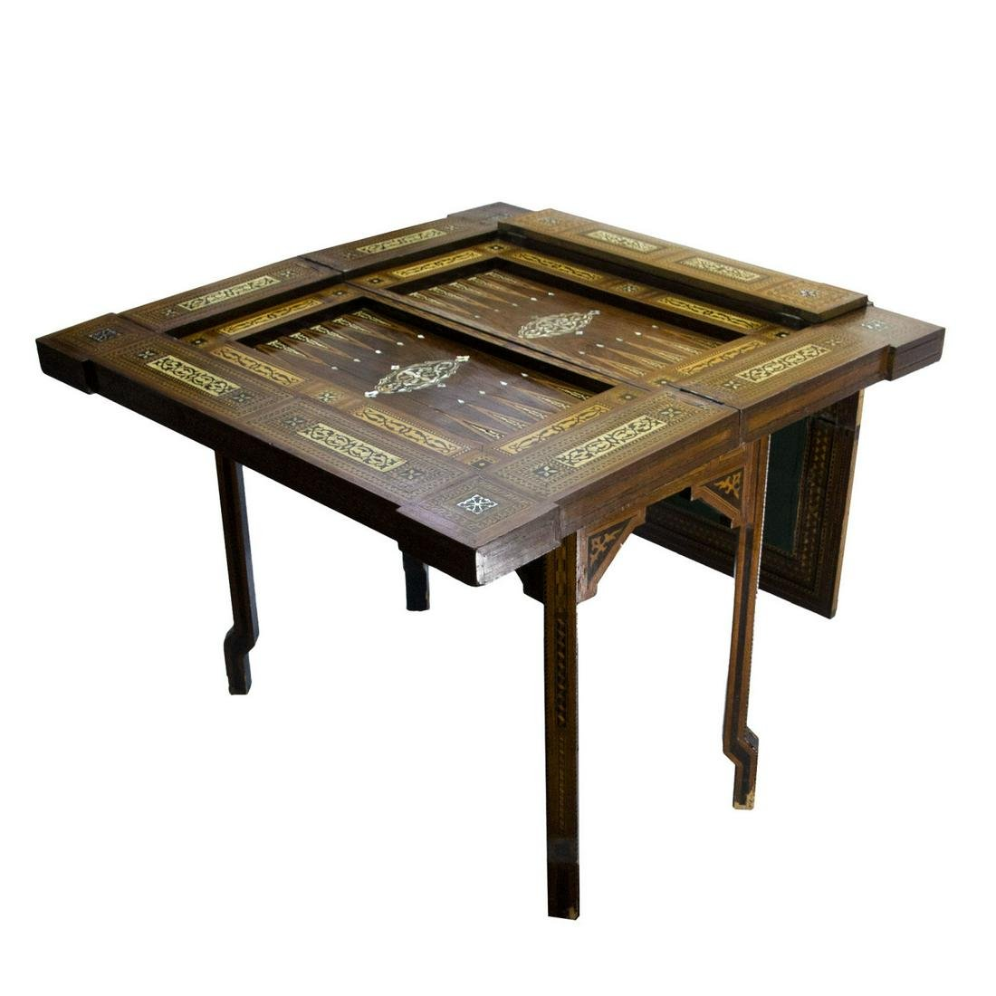 Magnificent Moroccan Antique Inlaid Game Table.