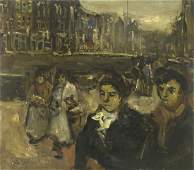 Isaac Israels (1865-1934) - Figures in the Street, Oil