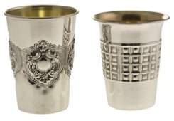 Two Sterling Silver Kiddush Cups Judaica