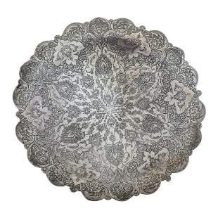 Persian Silver Plate, Circa 1900.