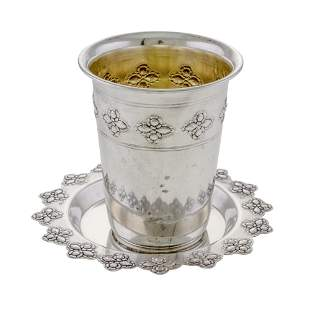 Sterling Silver Kiddush Cup on Coaster, Judaica.