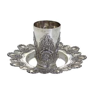 Sterling Silver Kiddush Cup and Coaster, Judaica.