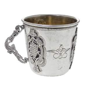 Sterling Silver Kiddush Cup, Judaica.