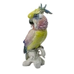 Karl Ens Volkstedt Porcelain Parrot Figurine, Early