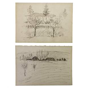 Hermann Struck (1876-1944) - Landscapes, Two Pencil on