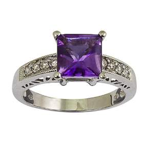 18k White Gold Amethyst and Diamond Ring.