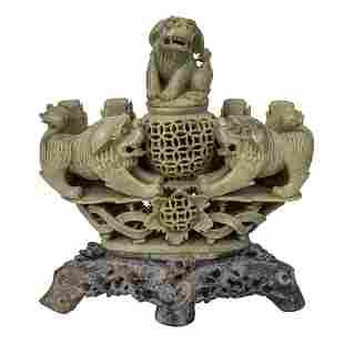 Chinese Soapstone Incense Burner.