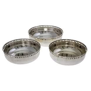 Trio of Silver Italian Bowls by Greggio.