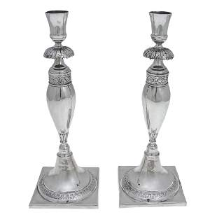 Antique Pair of Silver Candlesticks, Berlin, Germany,