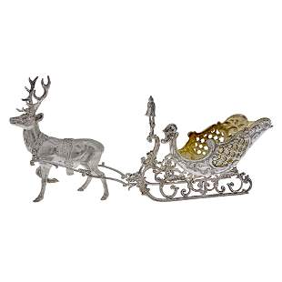 Sterling Silver Sweetmeat Bowl Modeled as a Reindeer