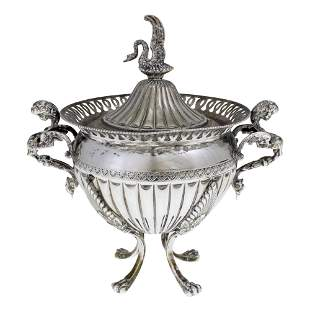 Italian Silver Bowl and Cover, 1940s-50s.