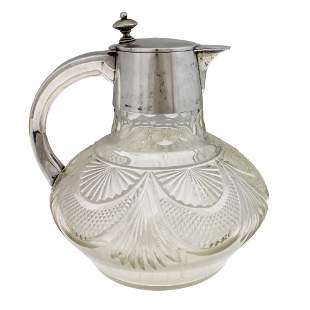 Silver and Crystal Claret Jug Decanter, Wilhelm T.