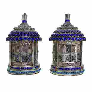 Rare Pair of Chinese Silver, Filigree, Enamel and