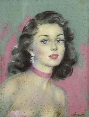 Jac Dum (French, 1915-2001) - Woman, Pastel on Paper.