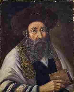 Victor Brindatch (b.1941) - Rabbi, Oil on Canvas, 2001.