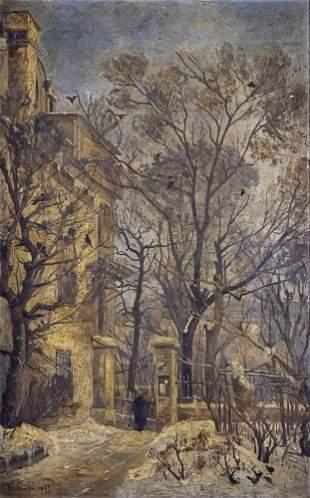 Hermine Von Janda (Austrian, 1854-1925) - Street View,