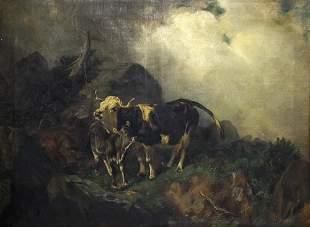 Unidentified Artist - H. Blum - Cattle, Oil on Canvas,
