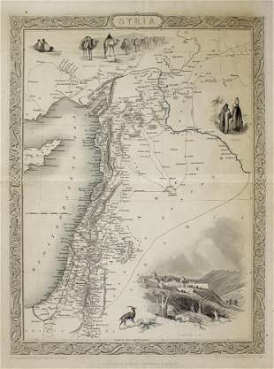 Syria and Israel Map, 1851.