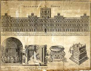 Ancient Engraving of The Temple in Jerusalem, Early-Mid