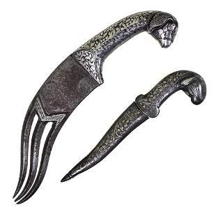 Couple of Old Hindi Daggers Inlaid With Silver.