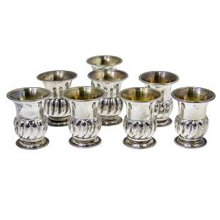 Set of Eight Sterling Silver Tots Cups.