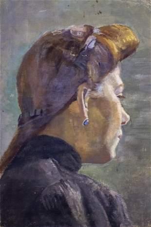 Shmuel Ben David (1884-1927) Bezalel - Woman Portrait,