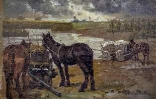 Carolus Pallya (Hungarian, 1875-1930) - Horses, Oil on