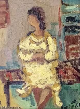 Albert Goldman (1922-2011) - Woman, Oil on Canvas.