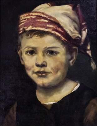 Unidentified Artist - Boy, Oil on Canvas.
