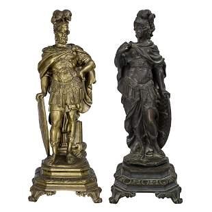 Pair of Bronze Sculptures - Athena and Zeus.