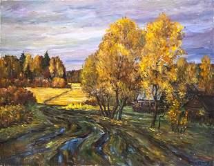 Victor Zag (b.1956) - Autumn Path, Oil on Canvas, Tel