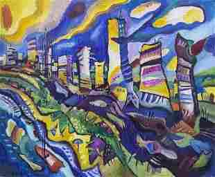 Victor Zag (b.1956) - Oil on Canvas, Tel Aviv, 1990.