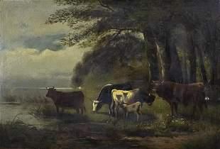 Unidentified Artist - Cattle, Oil on Cardboard mounted