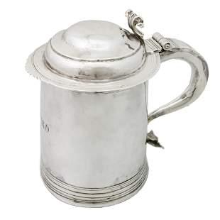 Rare English Sterling Silver Tankard, 18th Century.